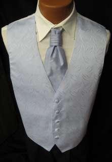 Mens Light Blue Patterned Fullback Vest & Matching Cravat Tuxedo