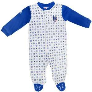 New York Mets Newborn White Lil Fan Coverall Sports