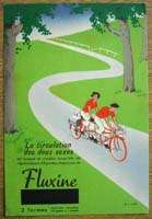 CYCLISTS RIDING A DOUBLE BICYCLE FLUXINE ART DECO CARD