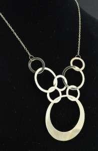 Yellow Gold Interlocking Circles Statement Bib Chain Necklace