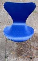 Arne Jacobsen Fritz Hansen Knoll Series Seven Chair Blue Danish Modern