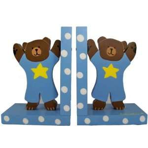 Baby Blue Teddy Bear Bookends Baby