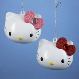 24 Tween Christmas Hello Kitty Head with Pink/Red Bow
