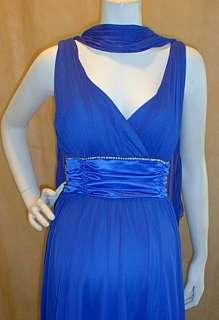 Blue Vneck Cocktail Rhinestone Line Trim Satin Sash Maternity Dress