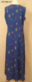 Long Blue Floral Leslie Fay Easy Care Cruise Dress 12