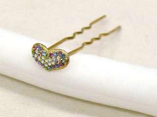 Gold Kanzashi (Hairpin) w/Heart Glass Beads V530
