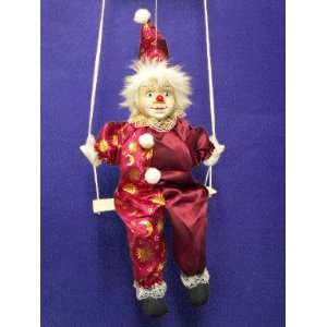 PORCELAIN Collectible Clown Doll on Swing Gold Celestial