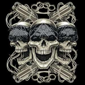 THUG LIFE SKULLS & GUNS BARB WIRE T SHIRT S,M,L,XL,2x