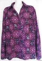 EAST 5TH Long Sleeve Purple STRETCH Print Button Down Shirt Blouse sz