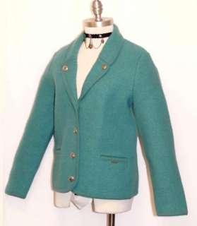 GEIGER ~ BOILED WOOL Women AQUA BLUE Austria WALK Cardigan SWEATER