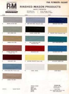 1968 PLYMOUTH PAINT COLOR SAMPLE CHIPS CARD OEM COLORS