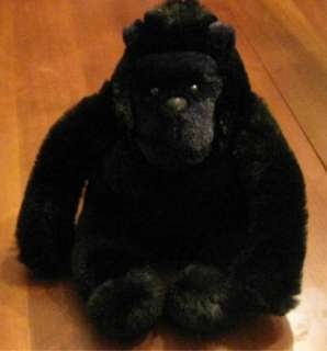 Soft plush stuffed Black Gorilla bead eyes felt nose S4