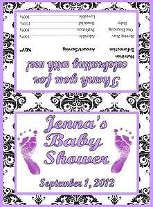 Girl Purple Baby Feet Damask Print Baby Shower Party Favor Bags with