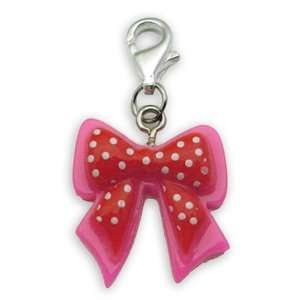 Beggar Charms pendant Bow red/pink/white points #8923, bracelet Charm