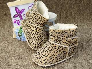 A280 new baby toddler boy girl leopard boots shoes US 3 4