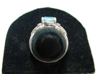 Estate March birthstone sterling silver genuine blue topaz marcasite