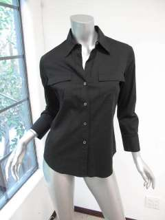 Theory Black Long Sleeve Button Down Pocket Top S