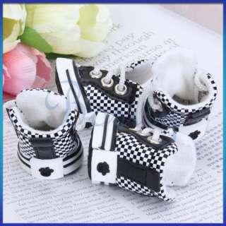 Checked Leather/PU Pet Dog Sports Boots Shoes Sneakers 5 Sizes
