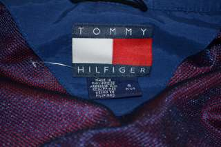 TOMMY HILFIGER RED BLUE 100% NYLON FULL ZIP HOODED WINDBREAKER JACKET