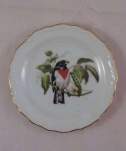 Vintage Small 3.75 Plate Tray Baltimore Oriole ? Bird Gold Trim