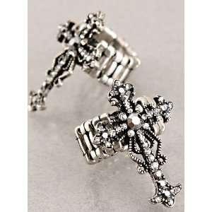 Jewelry Desinger Inspired Silver Cross Symbol Ring