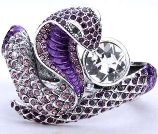 Purple swarovski crystal cobra snake bangle bracelet 6