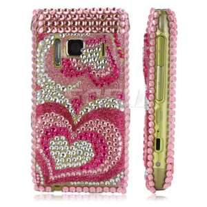 NEW PINK HEARTS CRYSTAL BLING CASE COVER FOR NOKIA N8 Electronics