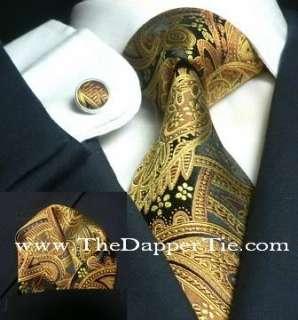 Mens Paisley Black & Gold 100% Neck Silk Tie Set 651S