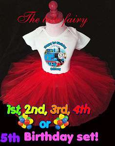 Thomas the train Birthday Girl Party shirt & red tutu set outfit name