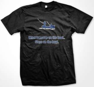 Stays on the Boat Funny Fishing Mens T Shirt Tee