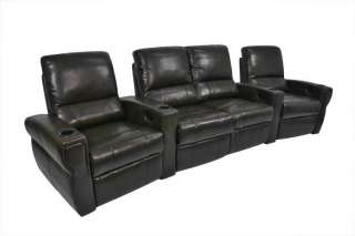 Pallas Home Theater Seating 4 Leather Power Seats Brown Chairs