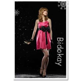 H237 New Womens Korea Strapless Bowknots Cocktail Dress