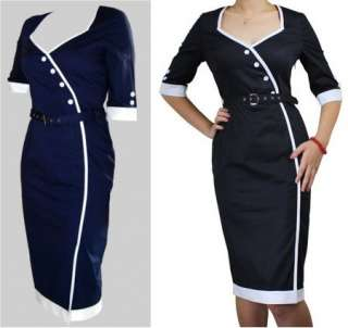 Buttoned Pin Up Dress Navy or Black Rockabilly 50s New