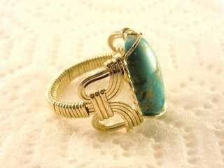 R158 Turquoise Ring 14k Gold gf Mens or Ladies Jewelry