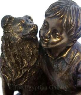 BOY & SHETLAND SHEEPDOG STATUE Sheltie Dog Bronze 4.5