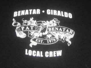 Pat Benatar Local Crew Concert Tour Black T Shirt XL Neil Giraldo New