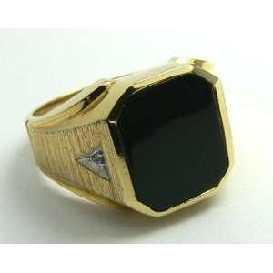 Elegant Black Onyx Diamond & Gold Mens Ring Everything