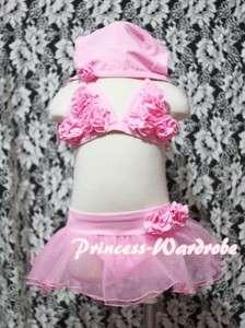 Baby Girl Light Pink Rosettes Bikini Swimwear Swimsuit Tutu 3PC set 4
