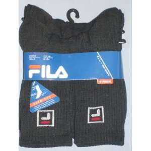 Fila Mens All Sport Rib Crew Socks, 6 Pair, Black, Sock