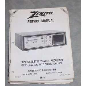 Zenith Service Manual   Cassette Tape Player/Recorder