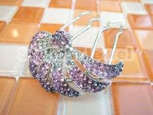 Amethyst Pink Clear Swarovski Crystal Barrette Comb Hair Clip 582