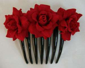 Red Rose flower Hair Comb
