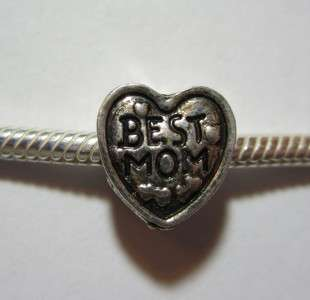Best Mom 2 heart charm bead for european chain snake bracelet Mother
