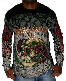 CHRISTIAN AUDIGIER Ed Hardy Mens Skull Rose Platinum Long Sleeve
