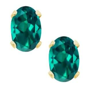 1.10 Ct Yellow Gold Green Mystic Topaz Stud Earrings Jewelry