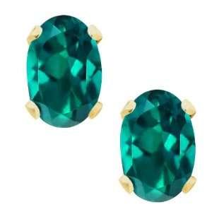 1.10 Ct Yellow Gold Green Mystic Topaz Stud Earrings Jewelry