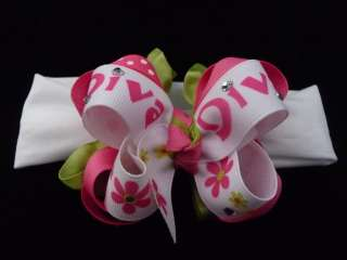 Boutique Hair Bow Headband Baby DIVA Bling Lime Pink