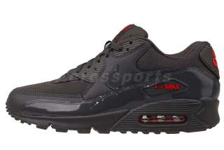 Nike Air Max 90 Midnight Fog Dark Grey Patent Red Mens Running Shoes
