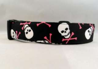 Awesome Skulls Hot Pink Cross Bones Black Dog Collar
