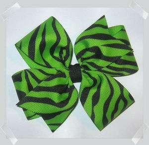 Pinwheel Style Grosgrain Hair Bow in Neon Green & Black ZEBRA Print